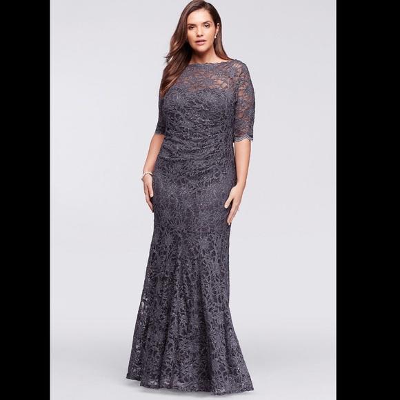 af65f6f9695 Nightway Gown David s Bridal Lace Glitter Mermaid.  M 5ba857ac6a0bb7b11acfa95c